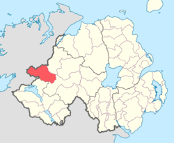 Location of Omagh West, County Tyrone, Northern Ireland.