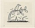 Ontwerp voor een vignet voor het maandblad voor Beeldende Kunsten- een vogel op een tak.jpeg