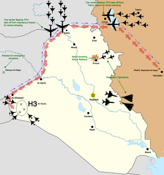 H-3 airstrike - Map of the operation, showing the aircraft involved and their route.