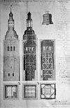 opmeting van de in 1834 gesloopte kerktoren, naar tekening op het raadhuis - appingedam - 20023892 - rce