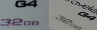 Optically variable ink - Optically variable ink used in popular USB drives that are often subject to counterfeiting. Taken from 2 different angles.