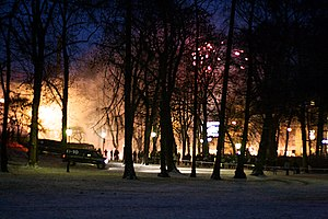 2008–09 Oslo riots - Riot effects seen from a distance.