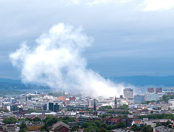 English: view of Oslo city after July 2011 bombing