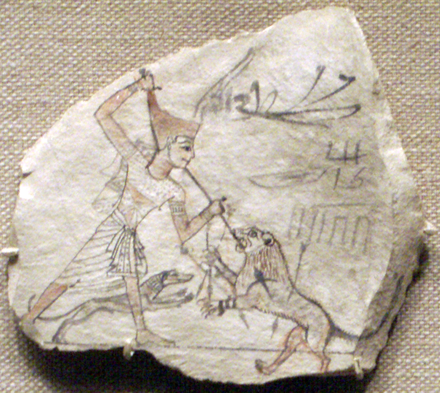 Ostraca of hunting a lion with a spear, aided by a dog Ostracon04-RamessidePeriod MetropolitanMuseum.png
