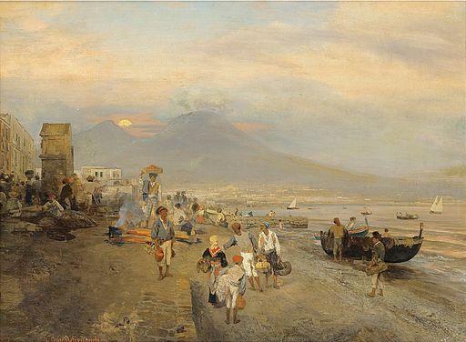 Oswald Achenbach - Ansicht von Neapel bei Sonnenuntergang