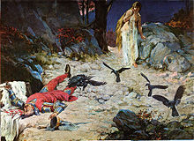 A half-naked woman watches a body lying on a cliff which is surrounded by crows