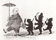 """""""Der Künstler wallt im Sonnenschein, die Tintenbuben hinterdrein."""" Karikatur auf Bruckner und seine Kritiker (Eduard Hanslick, Max Kalbeck und Richard Heuberger) von Otto Böhler. (Quelle: Wikimedia)"""