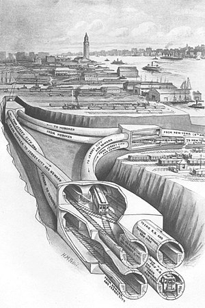 Downtown Hudson Tubes - 1909 illustration of flying junction of Uptown Hudson Tubes in Jersey City which connect to Downtown tubes to the south