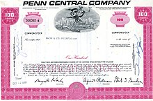 Pink-colored, 100 share stock certificate of Penn Central Company