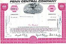 Certificat d'actions de 100 actions de couleur rose de Penn Central Company