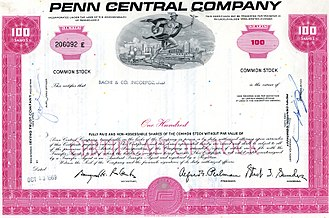 Penn Central Transportation Company - PC pre-bankruptcy stock certificate, 1969.