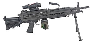 M249 light machine gun - M249 Para fitted with Trijicon ACOG and RFI collapsible stock