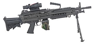Light machine gun - The Belgian Minimi M249 light machine gun, one of the most widespread modern 5.56 mm light machine guns amongst NATO countries.