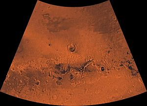 Ismenius Lacus quadrangle - Image of the Ismenius Lacus Quadrangle (MC-5). The northern area contains relatively smooth plains; the central area, mesas and buttes; and, the southern area, numerous craters.