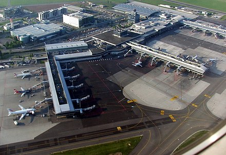Vaclav Havel Airport Prague is one of the busiest airports in central Europe, carrying 16.8 millions of passengers in 2018 PRG Ruzyne airport view 8971b.jpg