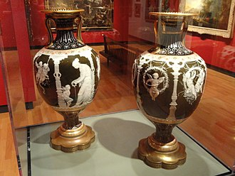 Marc-Louis Solon - Mintons vases designed by Marc-Louis-Emmanuel Solon in the pâte-sur-pâte style, 1880