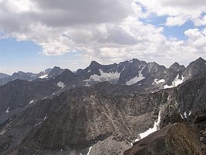 Palisades (California Sierra) - The Palisades' north faces, from Cloudripper, July 2007