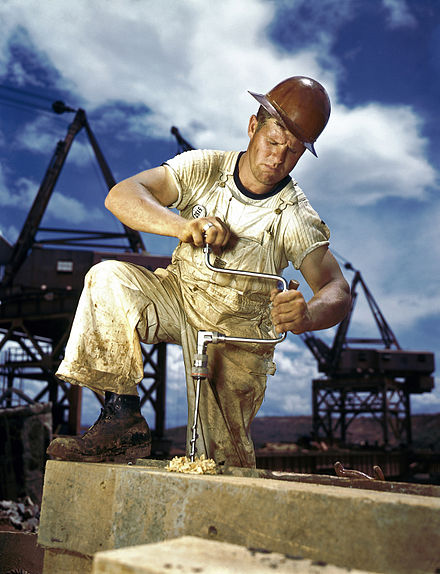 A carpenter (wearing a contractor's employee badge) at work during the 1942 construction of the Douglas Dam in East Tennessee. PalmercarpenterA.jpg