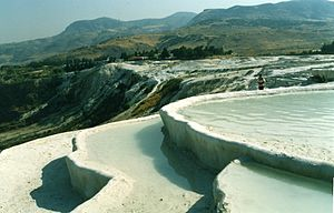 Denizli Province - Pamukkale below the ruins of Hierapolis