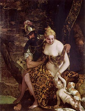 Mars and Venus with Cupid and a Dog - Mars and Venus with Cupid and a Dog