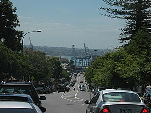 Looking north-north-west down Parnell Road, Ports of Auckland and Waitemata Harbour visible in the distance.
