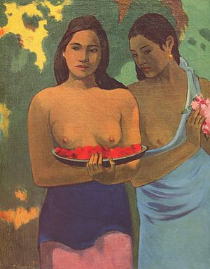 Toplessness - Two Tahitian Women (1899) by Paul Gauguin
