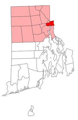 Location of Pawtucket in Providence County, Rhode Island