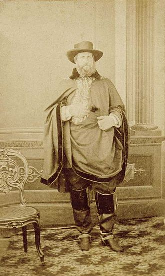 Pedro II of Brazil in the Paraguayan War - Emperor Pedro II wearing a southern Brazilian (Gaúcho) traditional outfit during his visit to Uruguaiana in the province of Rio Grande do Sul, 1865.
