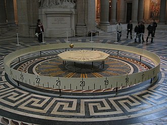 Time in physics - Foucault's pendulum in the Panthéon of Paris can measure time as well as demonstrate the rotation of Earth.