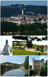 Tap:Panorama view o Saunt-Front Cathedral in Trélissac Hills, Middle left:Statue o Thomas-Robert Bugeaud in Bugeaud Square, Middle richt:Barbadeau Castle (Le château de Barbadeau), Bottom left:Isle River an Saunt Geoges Brig (Pont Saunt Georges), Bottom richt:The touer o Vésone (La tour de Vésone)