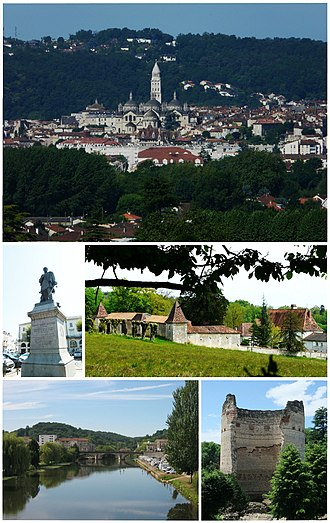 Périgueux - Top:Panorama view of Saint-Front Cathedral in Trélissac Hills, Middle left:Statue of Thomas-Robert Bugeaud in Bugeaud Square, Middle right:Barbadeau Castle (Le château de Barbadeau), Bottom left:Isle River and Saint Georges Bridge (Pont Saint Georges), Bottom right:The tower of Vésone (La tour de Vésone)