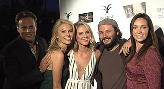 James Cullen Bressack - James Cullen Bressack (center right), with people from the 2015 film Pernicious; left to right: producer Daemon Hillin, actresses Jackie Moore, Ciara Hanna, and Emily O'Brien.