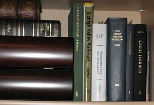 Books in a personal library.