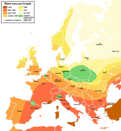 Pestilence spreading 1347-1351 europe.cs