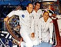 Pete Conrad (left), Dick Gordon, and Al Bean pose during a visit to North American Rockwell Space Division, Downey, California.jpg