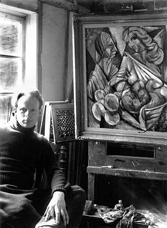 Peter Benjamin Graham - Peter Graham at The Abby Arts Centre, England 1947 with his painting Old Age And Youth