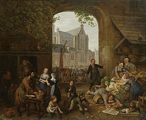 Two Drunkards at the Market near the Westerkerk in Amsterdam