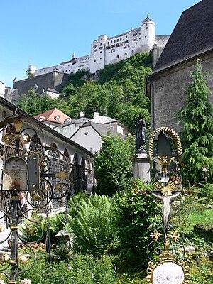 Petersfriedhof Salzburg - View to Hohensalzburg Castle