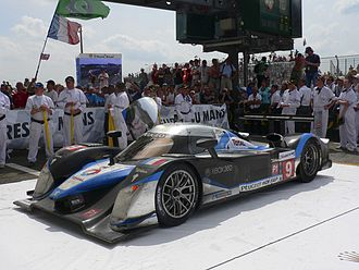 2009 24 Hours of Le Mans - Peugeot 908 HDi FAP, car number 9, winner Le Mans 2009, beneath podium