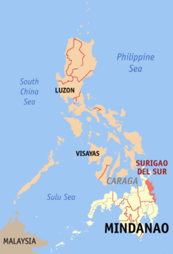 Map of the Philippines with Surigao del Sur highlighted