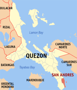 Map of Quezon showing the location of San Andreas.