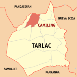 Map of Tarlac showing the location of Camiling
