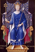 A Medieval image of Philip VI seated, wearing a blue robe