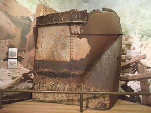 USS Arizona salvaged artifacts - Image: Phoenix Arizona State Capital 1901 Piece of the USS Arizona hull