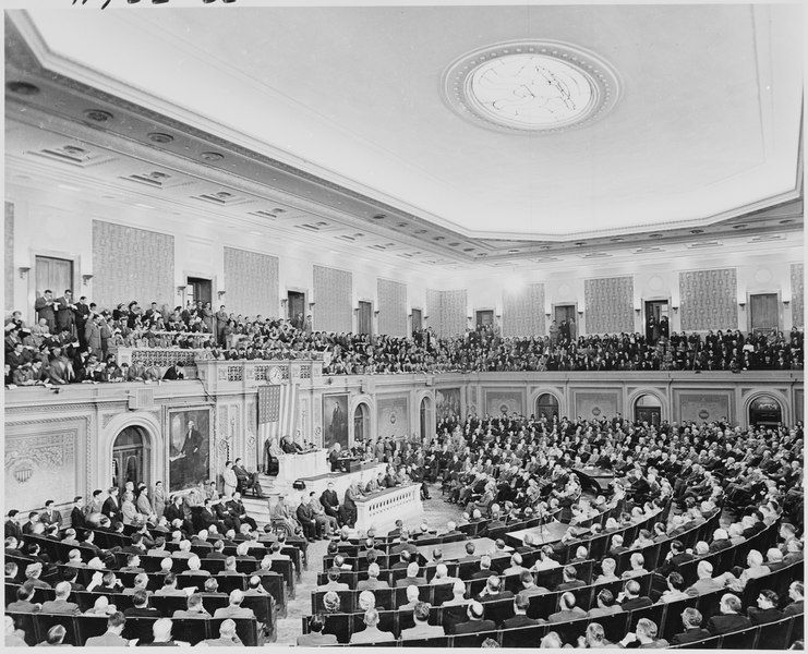 Photograph of President Truman delivering his State of the Union address to a joint session of Congress. - NARA - 200188