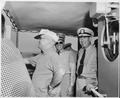 Photograph of President Truman on the bridge of the U.S.S. SARSFIELD during a cruise from Key West to the Dry... - NARA - 200588.tif