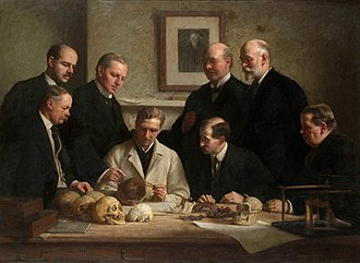 Piltdown Man - Group portrait of the Piltdown skull being examined. Back row (from left): F. O. Barlow, G. Elliot Smith, Charles Dawson, Arthur Smith Woodward. Front row: A. S. Underwood, Arthur Keith, W. P. Pycraft, and Ray Lankester. Note the portrait of Charles Darwin on the wall. Painting by John Cooke, 1915.