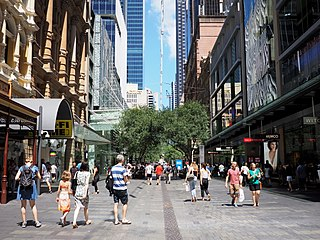 Pitt Street Mall thoroughfare in New South Wales, Australia