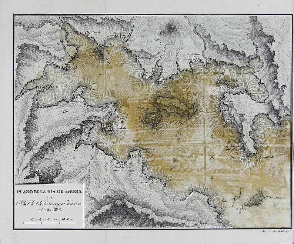 Plano de la Ría de Arosa por Domingo Fontán año de 1828