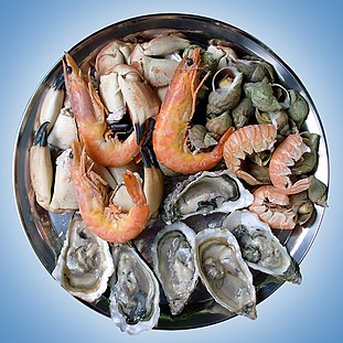 Seafood food from the sea, e.g. fish, shrimp, crab, mussel, seaweed